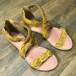 Seychelles Yellow Braided Leather Sandals
